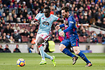 Pione Sisto Ifolo Emirmija of RC Celta de Vigo (L) competes for the ball with Lionel Messi of FC Barcelona (R) during the La Liga 2017-18 match between FC Barcelona and RC Celta de Vigo at Camp Nou Stadium on 02 December 2017 in Barcelona, Spain. Photo by Vicens Gimenez / Power Sport Images