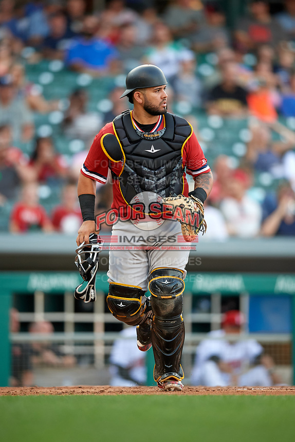 Rochester Red Wings catcher Juan Graterol (50) during a game against the Indianapolis Indians on July 24, 2018 at Victory Field in Indianapolis, Indiana.  Rochester defeated Indianapolis 2-0.  (Mike Janes/Four Seam Images)
