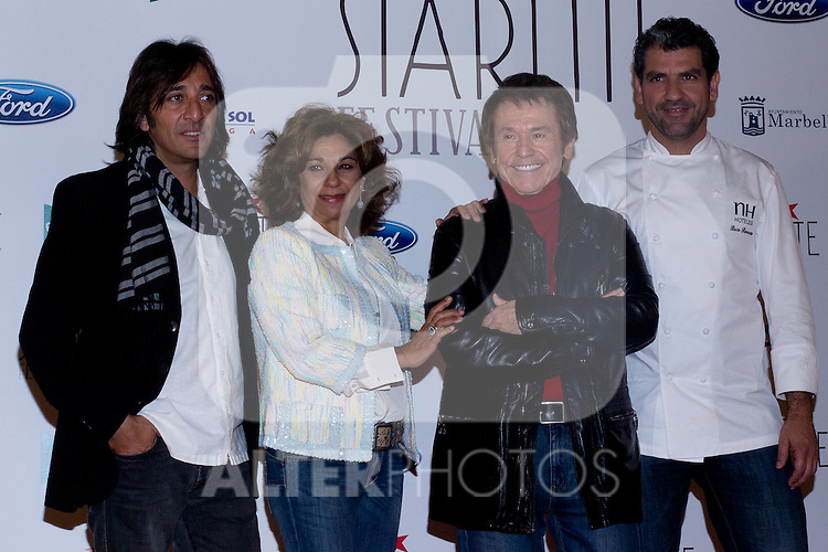 08.05.2012. Presentation of the Starlite Festival in the Casino de Madrid in the presence of some of the protagonists artists as Raphael, Lolita and Antonio Carmona, Paco Roncero for Bulli Catering, the Mayor of Marbella Ángeles Muñoz Uriol and producers of the project Sandra Garcia-Sanjuan and Ignacio Maluquer. The Starlite Festival will be held in Marbella from 13 July to 14 August. In the picture: Antonio Carmona, Lolita, Raphael and Paco Roncero  (Alterphotos/Marta Gonzalez)