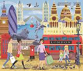 Kate, LANDSCAPES, LANDSCHAFTEN, PAISAJES, paintings+++++,GBKM759,#l#, EVERYDAY ,London,busses,