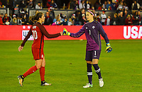 San Jose, CA - Sunday November 12, 2017: Carli Lloyd, Stephanie Labbe during an International friendly match between the Women's National teams of the United States (USA) and Canada (CAN) at Avaya Stadium.