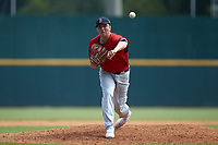 Pitcher Anthony Solometo (43) of Eustace Prep School in Sicklerville, NJ playing for the Boston Red Sox scout team during the East Coast Pro Showcase at the Hoover Met Complex on August 3, 2020 in Hoover, AL. (Brian Westerholt/Four Seam Images)