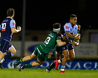 20th February 2021; Galway Sportsgrounds, Galway, Connacht, Ireland; Guinness Pro 14 Rugby, Connacht versus Cardiff Blues; Cardiff centre Rey Lee-Lo holds on to the ball under pressure from Bundee Aki and Tom Daly (Connacht)