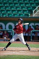 Offerman Collado (1) of the Idaho Falls Chukars bats against the Ogden Raptors in Pioneer League action at Lindquist Field on July 2, 2017 in Ogden, Utah. Ogden defeated Idaho Falls 6-5. (Stephen Smith/Four Seam Images)