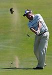 1 September 2008: Michael Allen hits an approach shot at the Deutsche Bank Golf Championship in Norton, Massachusetts.