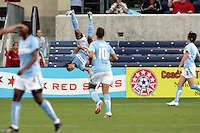 Chicago Red Star forward Cristiane (11) does a flip after scoring the Red Stars' second goal.  The Chicago Red Stars defeated the FC Gold Pride 3-1 at Toyota Park in Bridgeview, IL on July 12, 2009.