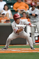 Secondbaseman Cale Ellis #2 of the Oklahoma Sooners bunts against the Texas Longhorns in NCAA Big XII baseball on May 1, 2011 at Disch Falk Field in Austin, Texas. (Photo by Andrew Woolley / Four Seam Images)