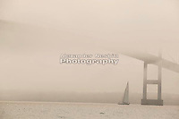Twelve meter Courageous sails under the fog covered Newport bridge