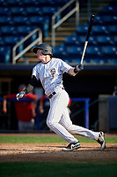 Staten Island Yankees first baseman Eric Wagaman (22) follows through on a swing during a game against the Lowell Spinners on August 22, 2018 at Richmond County Bank Ballpark in Staten Island, New York.  Staten Island defeated Lowell 10-4.  (Mike Janes/Four Seam Images)