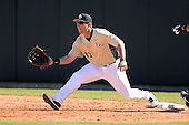 Central Florida Knights first baseman James Vasquez (13) during a game against the Siena Saints at Jay Bergman Field on February 16, 2014 in Orlando, Florida.  UCF defeated Siena 9-6.  (Copyright Mike Janes Photography)