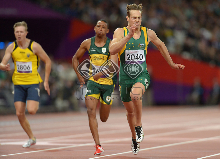 Evan O'Hanlon (AUS) wins Gold in the Men's 100m -T38 Final<br /> Athletics (Saturday 1st Sept) - Olympic Stadium<br /> Paralympics - Summer / London 2012 <br /> London, England 29 Aug - 9 Sept<br /> © Sport the library/Courtney Crow