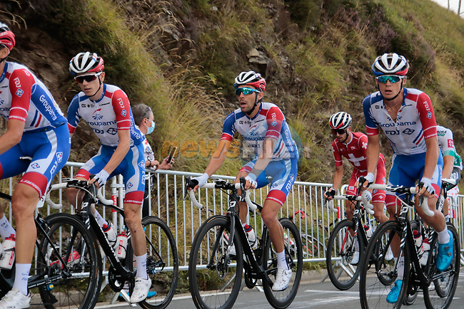 Thibaut Pinot (FRA) surrounded by loyal team mates loses time as he suffers with back pain on the Col de Peyresourde during Stage 8 of Tour de France 2020, running 141km from Cazeres-sur-Garonne to Loudenvielle, France. 5th September 2020. <br /> Picture: Colin Flockton | Cyclefile<br /> All photos usage must carry mandatory copyright credit (© Cyclefile | Colin Flockton)