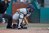 Hudson Valley Renegades catcher Austin Wells (10) blocks a pitch in the dirt during the game against the Greensboro Grasshoppers at First National Bank Field on September 2, 2021 in Greensboro, North Carolina. (Brian Westerholt/Four Seam Images)