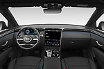 Stock photo of straight dashboard view of 2021 Hyundai Tucson Shine 5 Door SUV Dashboard