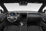 Stock photo of straight dashboard view of 2021 Hyundai Tucson Shine 5 Door SUV Dashboard