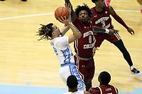CHAPEL HILL, NC - FEBRUARY 1: CJ Felder #0 of Boston College blocks a shot by Cole Anthony #2 of the University of North Carolina during a game between Boston College and North Carolina at Dean E. Smith Center on February 1, 2020 in Chapel Hill, North Carolina.