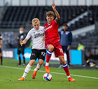 12th September 2020; Pride Park, Derby, East Midlands; English Championship Football, Derby County versus Reading; Louie Sibley of Derby County and John Swift of Reading challenge for the ball