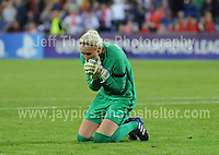 The Paris Saint-Germain goalkeeper Katarzyna Kiedrzyynek reacts to missing scoring during the penalty decider during the UEFA Champions league final Women's football between Lyon and Paris Saint-Germain at Cardiff City Stadium on 1st June 2017<br /> <br /> <br /> Jeff Thomas Photography -  www.jaypics.photoshelter.com - <br /> e-mail swansea1001@hotmail.co.uk -<br /> Mob: 07837 386244 -