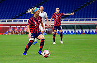 SAITAMA, JAPAN - JULY 24: Julie Ertz #8 of the United States looking for an open man during a game between New Zealand and USWNT at Saitama Stadium on July 24, 2021 in Saitama, Japan.