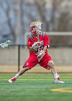 18 April 2015: University of Hartford Hawk Midfielder Matt Carroll, a Senior from Northport, NY, in action against the University of Vermont Catamounts at Virtue Field in Burlington, Vermont. The Cats defeated the Hawks 14-11 in the final home game of the 2015 season. Mandatory Credit: Ed Wolfstein Photo *** RAW (NEF) Image File Available ***