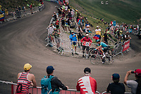 Jakob Fuglsang (DEN/Astana) up the brutal Col du Portet (HC/2250m/16km at 8.7%/Souvenir Henri Desgrange) in this historically short stage (only 65km)<br /> <br /> Stage 17: Bagnères-de-Luchon > Saint-Lary-Soulan (65km)<br /> <br /> 105th Tour de France 2018<br /> ©kramon