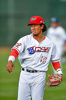 Pioneer League All-Star Jahmai Jones (15) of the Orem Owlz before the game against the Northwest League All-Stars at the 2nd Annual Northwest League-Pioneer League All-Star Game at Lindquist Field on August 2, 2016 in Ogden, Utah. The Northwest League defeated the Pioneer League 11-5. (Stephen Smith/Four Seam Images)