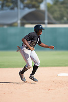 Chicago White Sox third baseman Bryce Bush (24) takes a lead off second base during an Instructional League game against the Oakland Athletics at Lew Wolff Training Complex on October 5, 2018 in Mesa, Arizona. (Zachary Lucy/Four Seam Images)