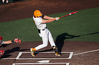 Tennessee Volunteers right fielder Jordan Beck (27) belts a three-run home run against the Arkansas Razorbacks on May 14, 2021, on Robert M. Lindsay Field at Lindsey Nelson Stadium in Knoxville, Tennessee. (Danny Parker/Four Seam Images)