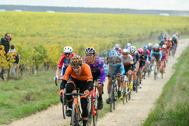 The peloton hit the gravel roads through the vineyards during Paris-Tours 2020, running 213km from Chartres to Tours, France. 11th October 2020.<br /> Picture: ASO/Gautier Demouveaux | Cyclefile<br /> All photos usage must carry mandatory copyright credit (© Cyclefile | ASO/Gautier Demouveaux)