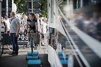 Jan Bakelants (BEL/OmegaPharma-Quickstep) warming down besides the teams camper van after the stage.<br /> <br /> 2014 Tour de France<br /> stage 15: Tallard - Nîmes (222km)