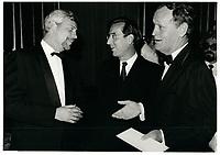 Pierre-marc Johnson, Robert Bourassa, <br /> <br /> Jean Chretien le 10 juillet 1986<br /> <br /> <br /> PHOTO :  Agence Quebec Presse