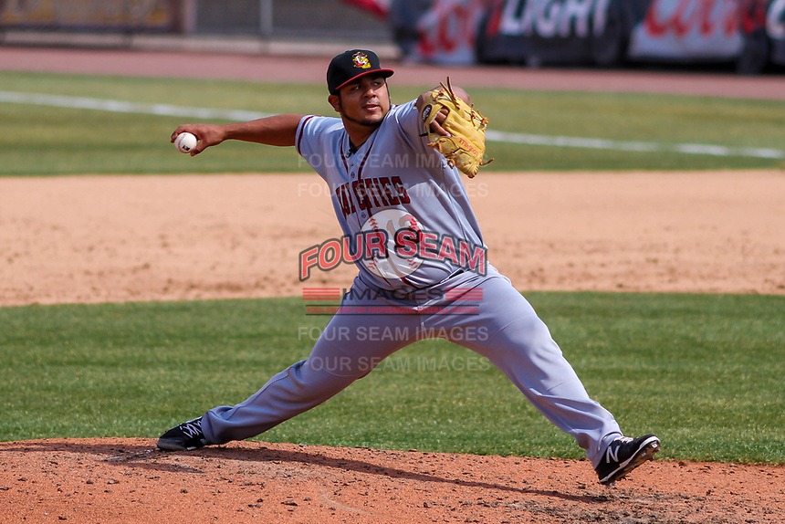 Quad Cities River Bandits pitcher Abdiel Saldana (13) delivvers a pitch during a Midwest League game against the Wisconsin Timber Rattlers on April 9, 2017 at Fox Cities Stadium in Appleton, Wisconsin.  Quad Cities defeated Wisconsin 17-11. (Brad Krause/Four Seam Images)