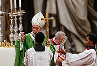 Pope Francis blesses the faithful at the end of a Mass for the World Mission Day in St. Peter's Basilica at the Vatican, October 20, 2019.<br /> UPDATE IMAGES PRESS/Riccardo De Luca<br /> <br /> STRICTLY ONLY FOR EDITORIAL USE