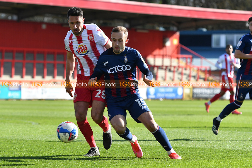 Charles Vernam of Bradford City AFC and Joe Martin of Stevenage FC during Stevenage vs Bradford City, Sky Bet EFL League 2 Football at the Lamex Stadium on 5th April 2021