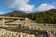 Black Mountain from the picnic area in front of Loon Mountain along the Kancamagus Scenic Byway in Lincoln, New Hampshire during the late months of summer.