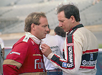 Dalearnhardt Ken Schraeder talk qualifying Pepsi 400 at Daytona International Speedway in Daytona beach, FL on July 1, 1989. (Photo by Brian Cleary/www.bcpix.com)