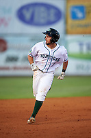 Daytona Tortugas shortstop Blake Trahan (7) running the bases during a game against the Fort Myers Miracle on April 17, 2016 at Jackie Robinson Ballpark in Daytona, Florida.  Fort Myers defeated Daytona 9-0.  (Mike Janes/Four Seam Images)