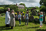 Fownhope Heart of Oak Society Herefordshire 2018.  Club Walk Day. Established as a Friendly Society in 1876 and reformed in 1989 when the law was changed regarding Friendly Societies.<br /> <br /> Judging the children flower sticks.