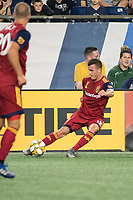FOXBOROUGH, MA - SEPTEMBER 21: Brooks Lennon #12 of Real Salt Lake passes the ball during a game between Real Salt Lake and New England Revolution at Gillette Stadium on September 21, 2019 in Foxborough, Massachusetts.