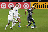 ST PAUL, MN - NOVEMBER 4: Emanuel Reynoso #10 of Minnesota United FC with the ball during a game between Chicago Fire and Minnesota United FC at Allianz Field on November 4, 2020 in St Paul, Minnesota.
