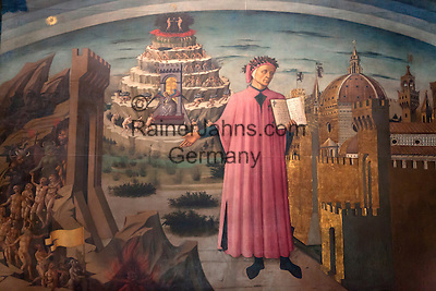 Italy, Tuscany, Florence: Painting of Dante with the Divine Comedy (1465) by Domenico di Michelino inside the Duomo   Italien, Toskana, Florenz: Dante und Die Goettliche Komoedie (1465) Gemaelde von Domenico di Michelino im Innern des Doms