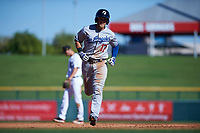 Glendale Desert Dogs first baseman Matt Beaty (17), of the Los Angeles Dodgers organization, rounds the bases after hitting a home run during an Arizona Fall League game against the Mesa Solar Sox on October 28, 2017 at Sloan Park in Mesa, Arizona. The Solar Sox defeated the Desert Dogs 9-6. (Zachary Lucy/Four Seam Images)