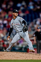 26 September 2018: Miami Marlins pitcher Elieser Hernandez on the mound in the 7th inning against the Washington Nationals at Nationals Park in Washington, DC. The Nationals defeated the visiting Marlins 9-3, closing out Washington's 2018 home season. Mandatory Credit: Ed Wolfstein Photo *** RAW (NEF) Image File Available ***