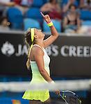 Victoria Azarenka (BLR) defeats Barbora Zahlavova Strychova (CZE) 6-4, 6-4 at the Australian Open being played at Melbourne Park in Melbourne, Australia on January 24, 2015