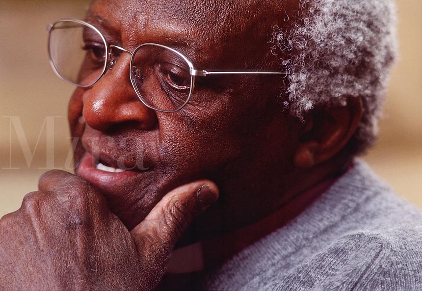 A portrait of Desmond Tutu; Archbishop of the Anglican church.