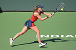 Paula Badosa (ESP) defeated Victoria Azarenka (BLR) 7-6 (7-5), 2-6, 7-6 (7-2), at the BNP Paribas Open being played at Indian Wells Tennis Garden in Indian Wells, California on October 17,2021: ©Karla Kinne/Tennisclix/CSM