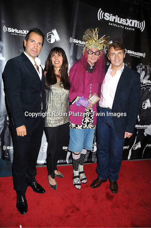"""Richie Notar, Myra Scheer, Rollrena and Mark Benecke attend  the SiriusXM Reopens Studio 54 for """"One Night Only"""" party on October 18, 2011 at Studio 54 in New York City."""