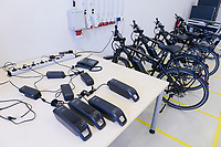 GERMANY, Hamburg,, charging station for e-bikes / Hamburg Bergedorf Energiecampus CC4E, Batterieladesstation fuer E-Bikes