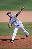 Dunedin Blue Jays relief pitcher Juliandry Higuera (21) delivers a pitch during a game against the Daytona Tortugas on April 22, 2018 at Dunedin Stadium in Dunedin, Florida.  Daytona defeated Dunedin 5-1.  (Mike Janes/Four Seam Images)
