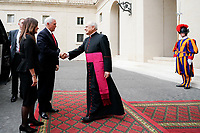 Vice President Pence and Mrs. Pence Arrive at the Vatican<br /> <br /> Vice President Mike Pence and Mrs. Karen Pence arrive at the Vatican Friday, Jan. 24, 2020, and are greeted by the Regent of the Prefecture of the Papal Household Monsignor Leonardo Sapienza. (Official White House Photo by D. Myles Cullen)
